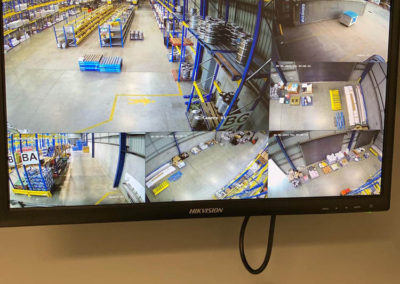 Security Cameras installed throughout a warehouse